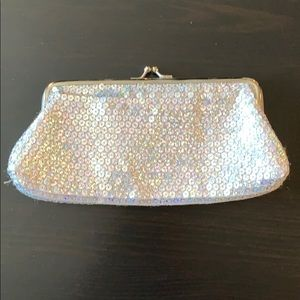 Silver sequin coin purse style clutch
